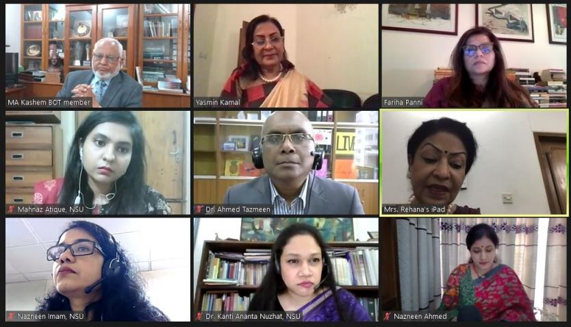 """এনএসইউ'তে """"বাংলাদেশের নারীদের উপর কোভিড-১৯ মহামারি এর আর্থ-সামাজিক প্রভাব"""" শীর্ষক ওয়েবিনার অনুষ্ঠিত"""